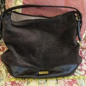 Cole Haan Rich Brown Suede & Leather Satchel Bag
